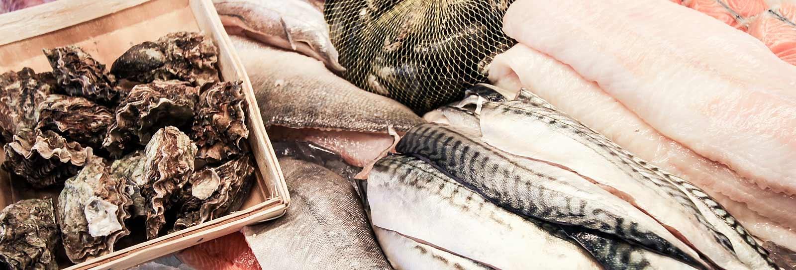 Blandad fisk Ostron